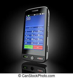 téléphone portable, cellphone., arrière-plan noir