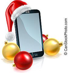 téléphone portable, chapeau, noël, santa
