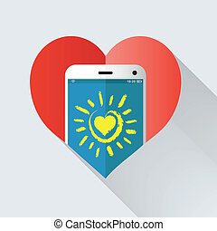 téléphone portable, coeur