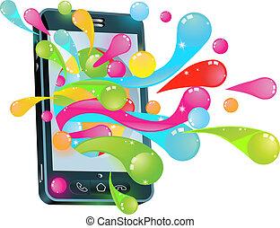 téléphone portable, concept, bulle, gelée