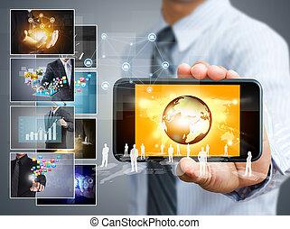 téléphone portable, concept, business