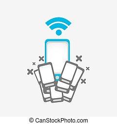 téléphone portable, concept, wifi