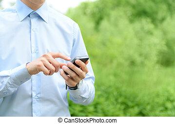 téléphone portable, dans, main