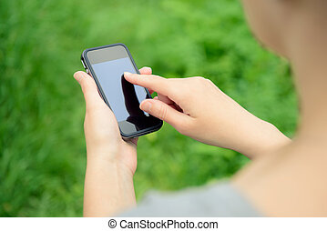 téléphone portable, dans, mains
