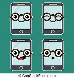 téléphone portable, dessin animé