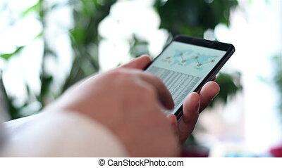 téléphone portable, diagramme, stockage