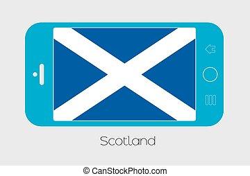 téléphone portable, drapeau, ecosse