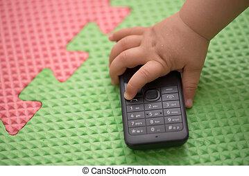téléphone portable, enfants, mains