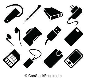 téléphone portable, ensemble, accessoires, icône