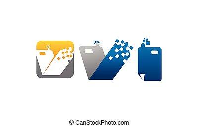 téléphone portable, ensemble, centre, applications