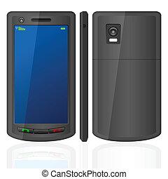 téléphone portable, ensemble, noir