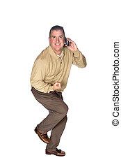 téléphone portable, excité, homme