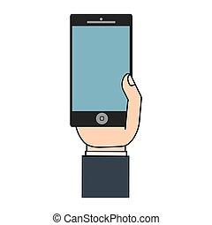 téléphone portable, exposer, main