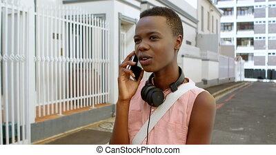 téléphone portable, femme, 4k, conversation