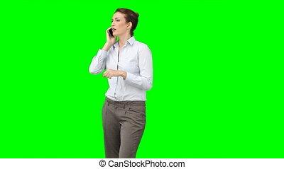 téléphone portable, femme, elle, business
