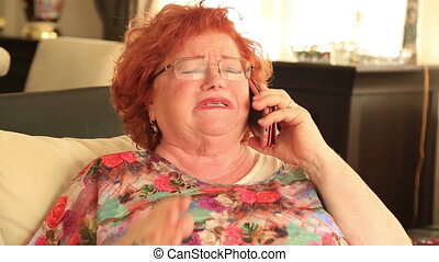 téléphone portable, femme fâchée, crier