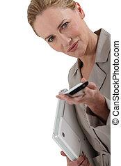 téléphone portable, femme, intelligent