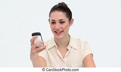 téléphone portable, femme, jeune, utilisation
