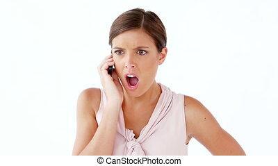 téléphone portable, femme, sérieux, utilisation