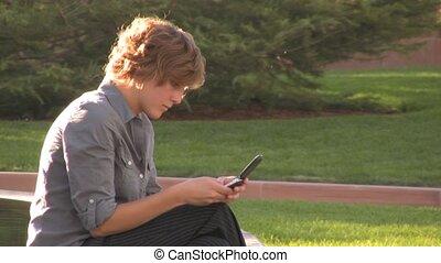 téléphone portable, femme, texting, business