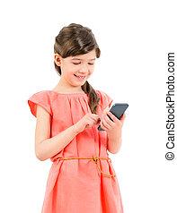 téléphone portable, fille souriante