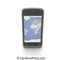 téléphone portable, fond blanc, 3d