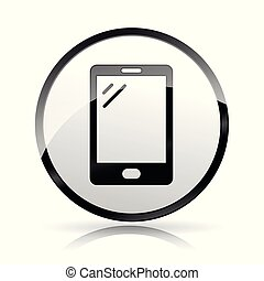 téléphone portable, fond blanc, icône