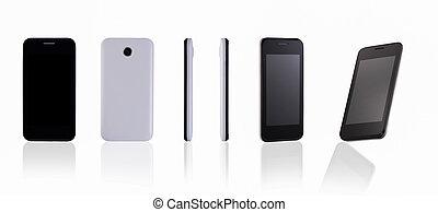 téléphone portable, fond blanc