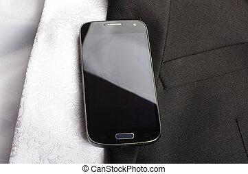 téléphone portable, formel, business, cl