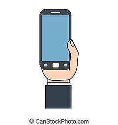 téléphone portable, gadget, main