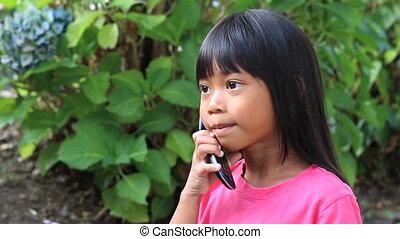 téléphone portable, girl, asiatique, conversation