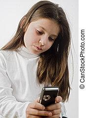 téléphone portable, girl, jeune