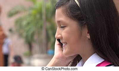 téléphone portable, girl, joli, conversation