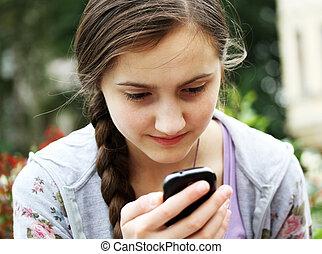 téléphone portable, girl, jouer