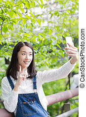 téléphone portable, girl, self-timer