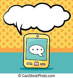 téléphone portable, griffonnage