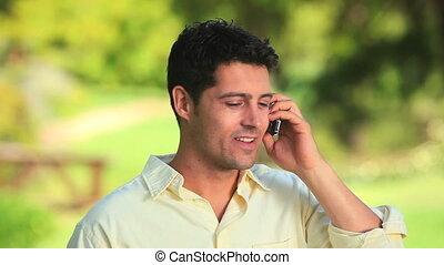 téléphone portable, heureux, homme
