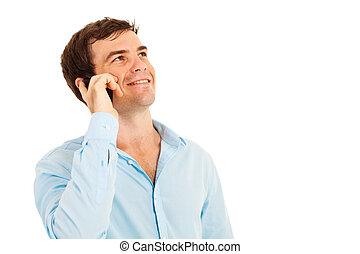 téléphone portable, heureux, parler homme