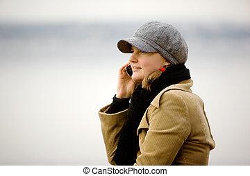 téléphone portable, hiver