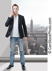 téléphone portable, homme affaires, jeune, utilisation