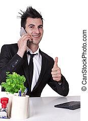 téléphone portable, homme affaires, ok, confection