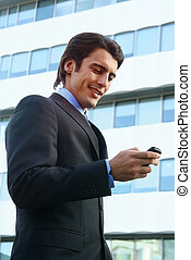 téléphone portable homme affaires, utilisation, b