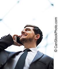 téléphone portable, homme, business, conversation