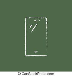 téléphone portable, icône, dessiné, chalk.