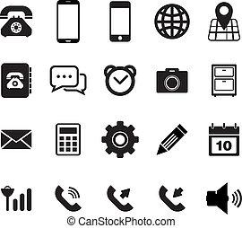 téléphone portable, icône, ensemble