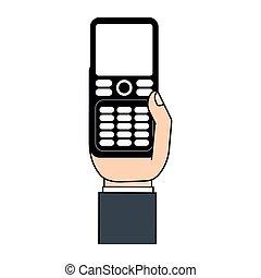 téléphone portable, icône, main