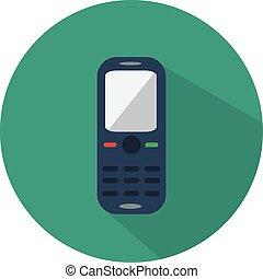 téléphone portable, icône, plat