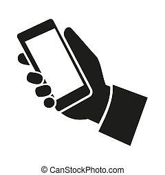 téléphone portable, icon., vecteur, main