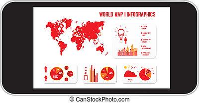 téléphone portable, infographics, planisphère