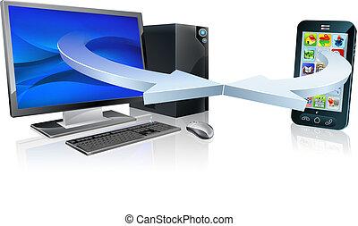 téléphone portable, informatique, synchro